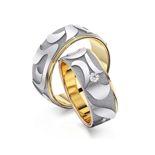 Aliança em Ouro 18k Bodas com Diamante