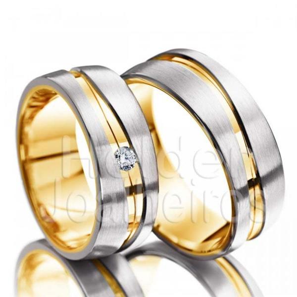 Aliança de Bodas Com Diamante - Ouro 18k
