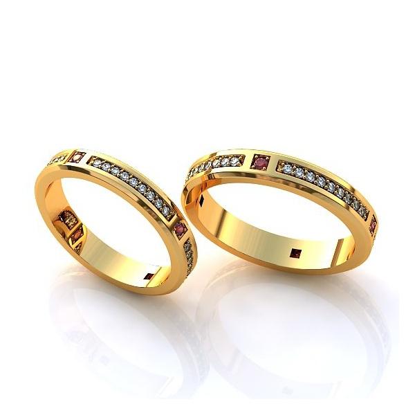 Aliança de Casamento em Ouro 18k com Diamantes e Rubi
