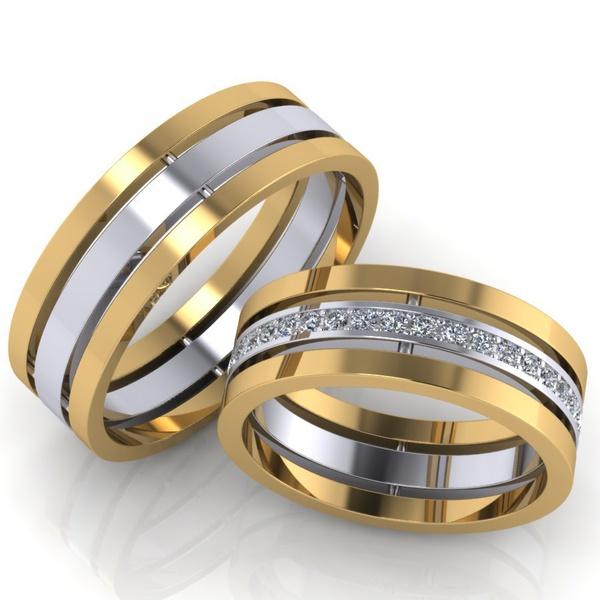 Aliança Bodas de Prata - Ouro 18k 750