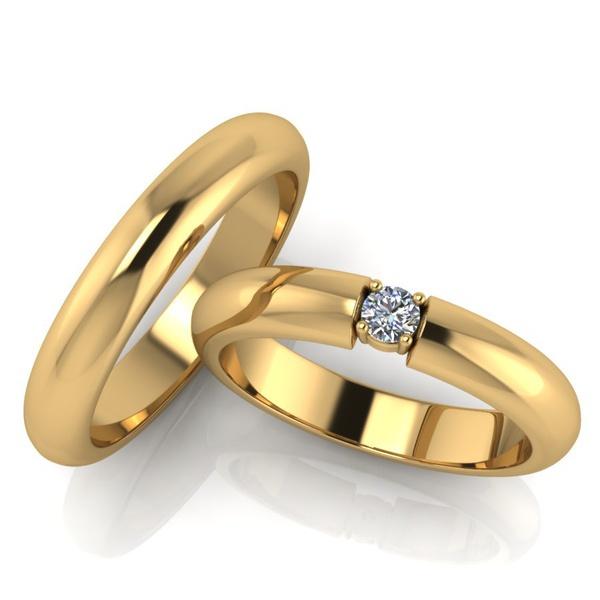 Aliança de Casamento Solitário com Diamante de 18 Pontos