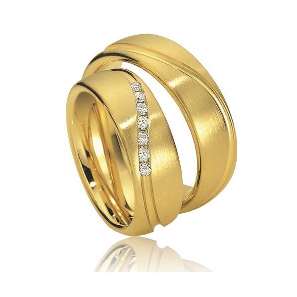 Aliança De Casamento em Ouro Amarelo 18k com Diamantes