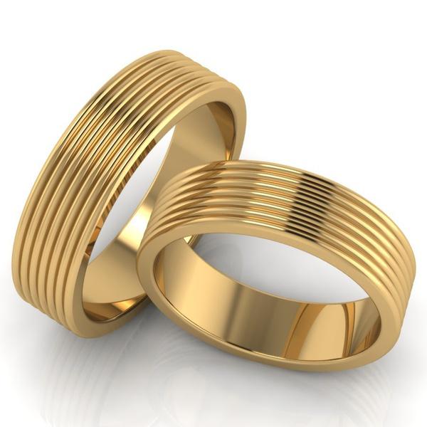 Aliança Ouro 18k - Casamento e Noivado com Frisos