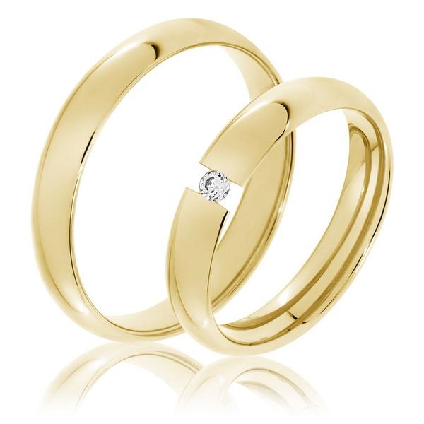 Aliança de Casamento 3,5 Milímetros com Brilhante Flutuante - Ouro 18k
