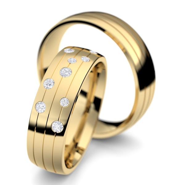 Aliança de Ouro - Ouro 18k 750 Diamantes