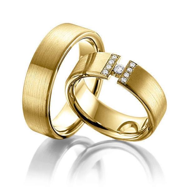 Aliança de Casamento com Diamante Flutuante