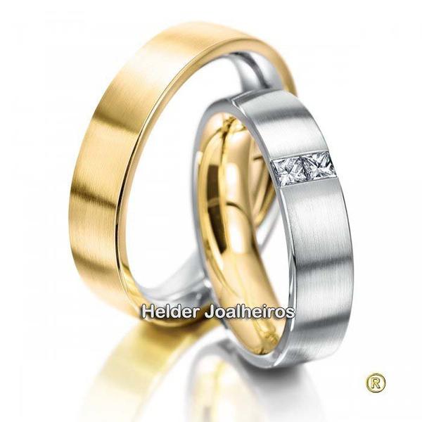 Aliança em Ouro 18k Bodas com Diamantes Prince
