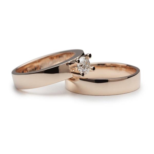 Aliança de Casamento Solitário com Diamante de 35 Pontos
