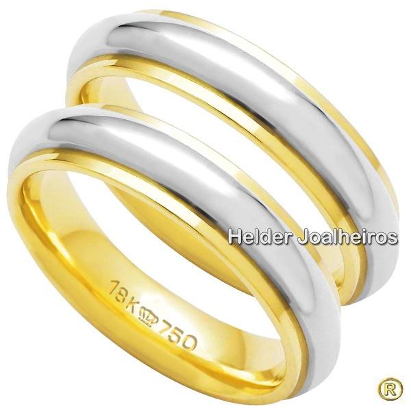 Aliança Bodas de Prata - Ouro 18k - Ouro Amarelo e Branco