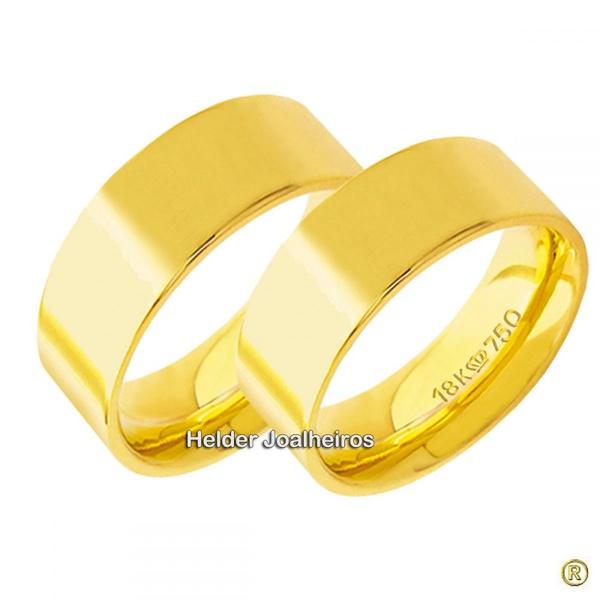 Aliança Reta 7,5 Milímetros de Ouro 18k Casamento e Noivado