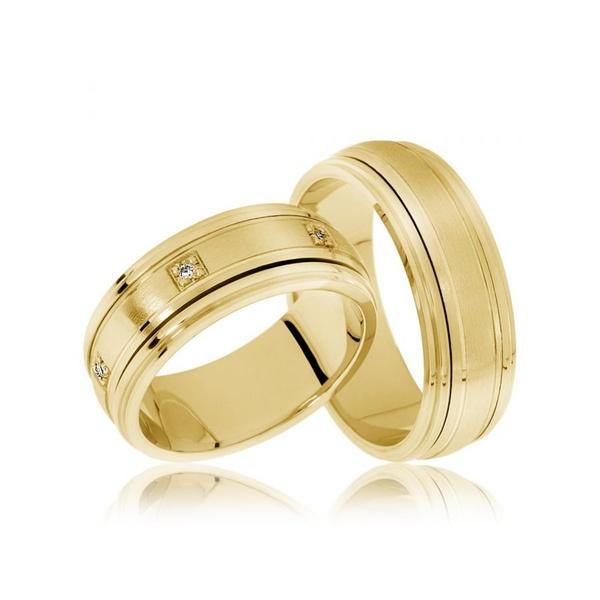 Aliança de Casamento - Ouro 18k - com Brilhantes