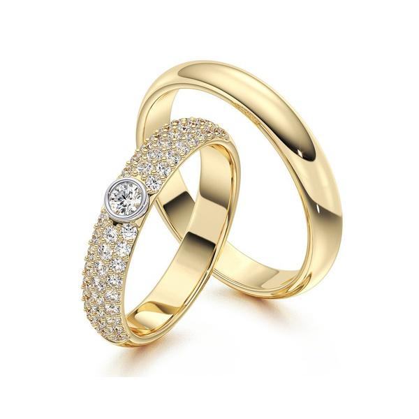 Alianças Com Diamantes - Casamento e Noivado