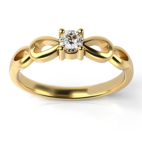 Solitário em Ouro 18k Coração Infinito com Diamante