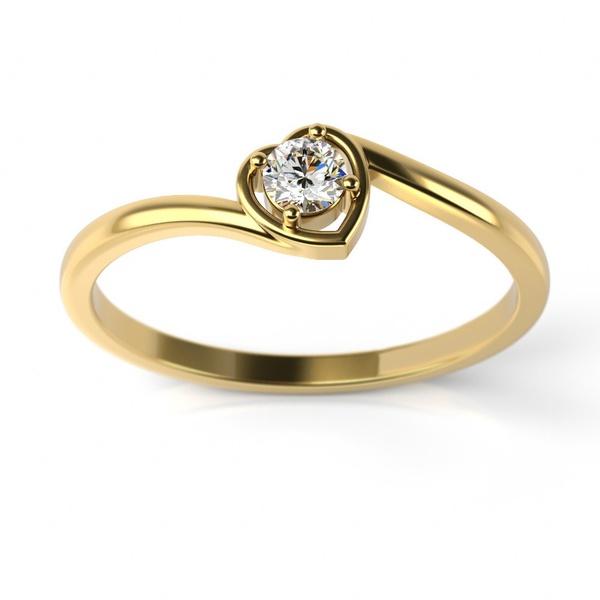 Solitário em Ouro 18k com Coração de Diamante