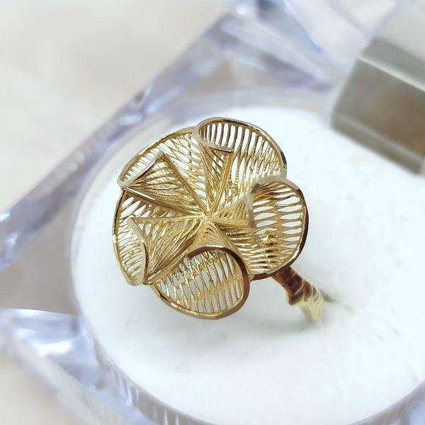 Anel em Ouro 18k 750 Flor Telada Cone Aro Galho