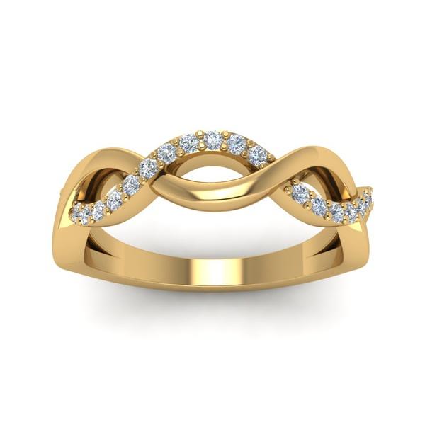 Anel Trançado com Diamantes em Ouro 18k