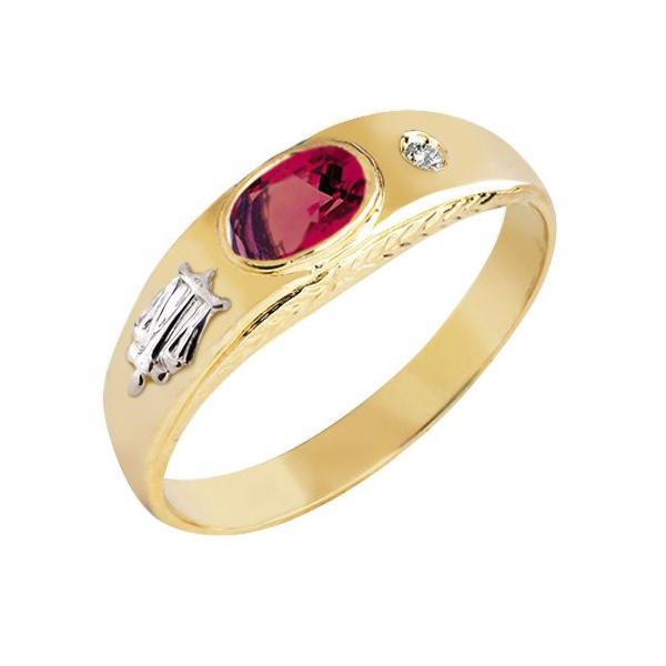 Anel de Formatura em Ouro 18k com Diamante