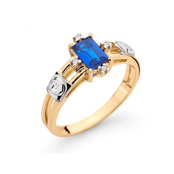 Anel de Formatura Ouro 18k com Diamantes e Pedra Natural