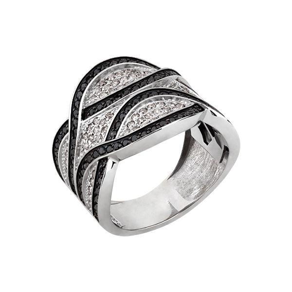 Anel Largo Trançado com Diamantes Branco e Black