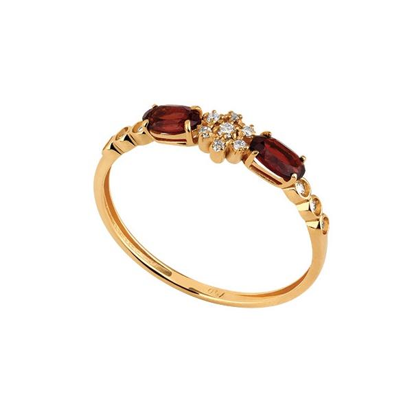 Anel em Ouro Amarelo 18k Aro Fino Granada e Diamantes