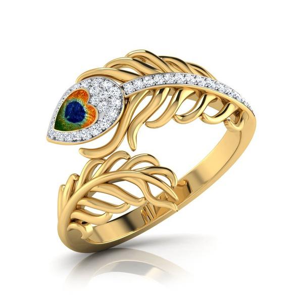 Anel Ouro 18k Pena de Pavão com Diamantes