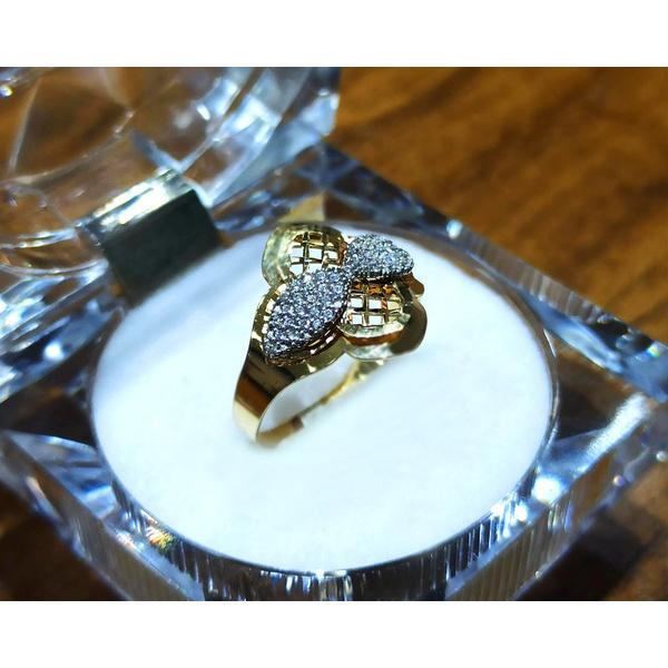 Anel em Ouro 18k Diamantado com Zircônias