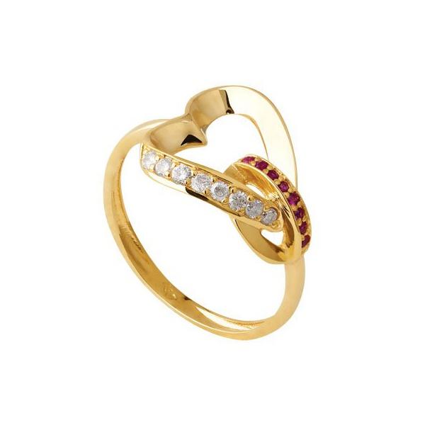 Anel Coração vazado com Rubi e Diamantes
