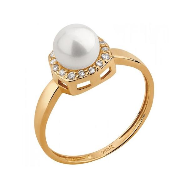Anel Ouro 18k Pérola laterais Cravejadas c/ Diamantes
