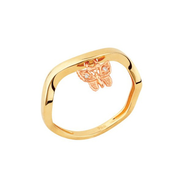 Anel Torto em Ouro Amarelo 18k Borboleta com Diamantes