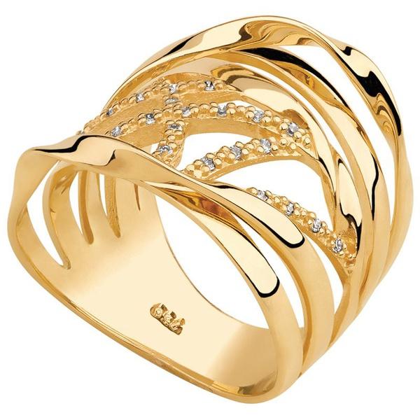 Anel Cravejado com Diamantes Aros Torcidos