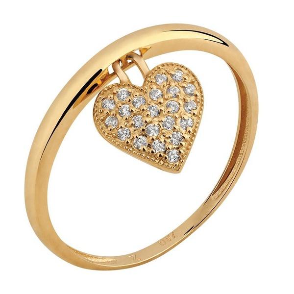 Anel Ouro 18k com Pingente Coração Cravejado