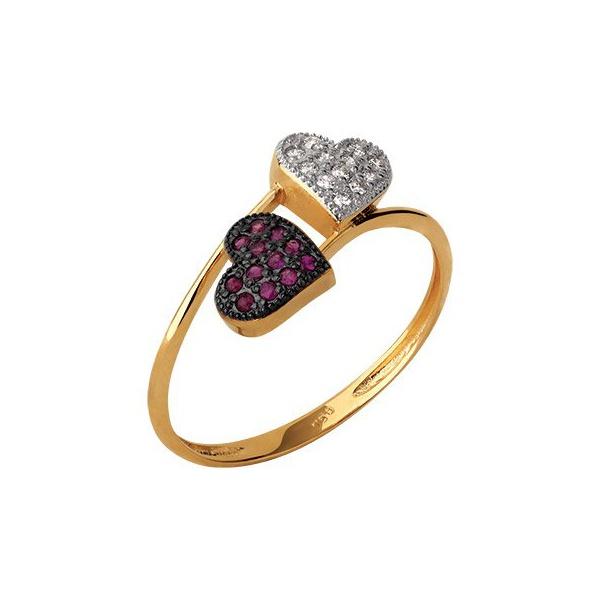 Anel Ouro 18k com 2 Corações Rubis e Diamantes