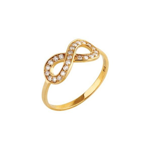 Anel em Ouro Amarelo 18k Infinito com Diamantes