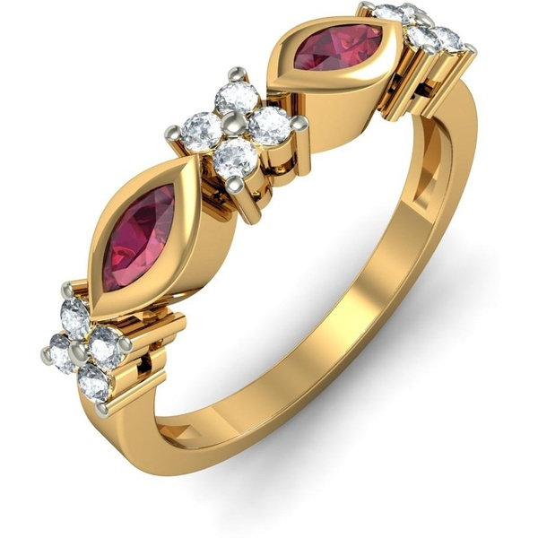 Anel Ouro 18k com Diamantes e Rubi