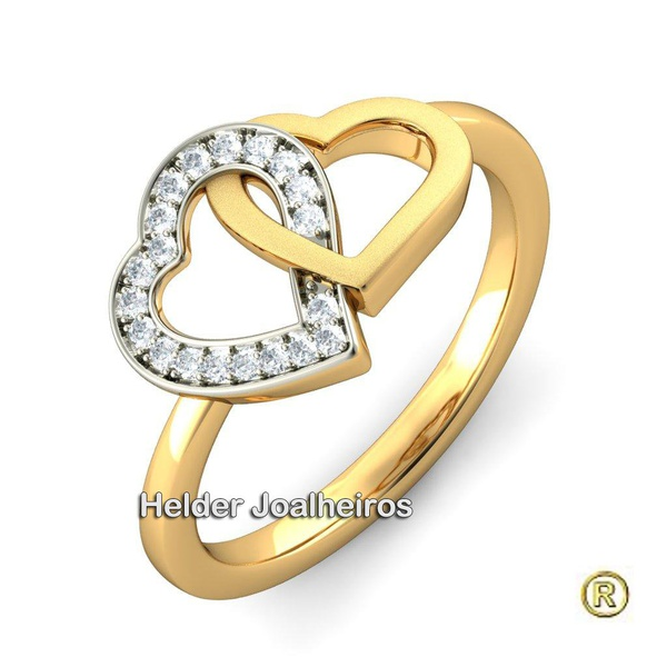 Anel Duplo Coração em Ouro Amarelo e Ouro Branco 18k 750