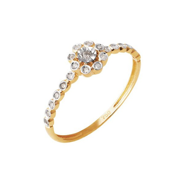 Anel de Florzinha com Diamantes - Ouro Amarelo 18k