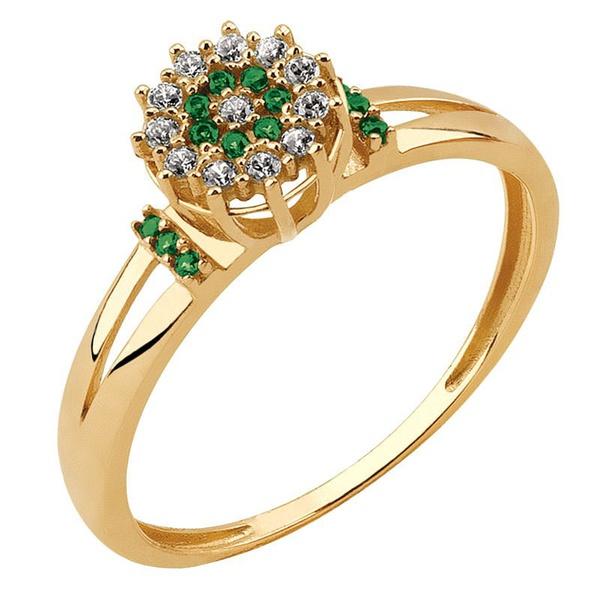 Anel Chuveiro de Florzinha com Esmeralda e Diamantes
