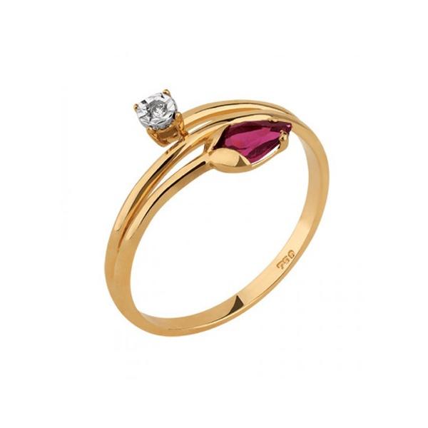 Anel com Rodonita e Diamantes