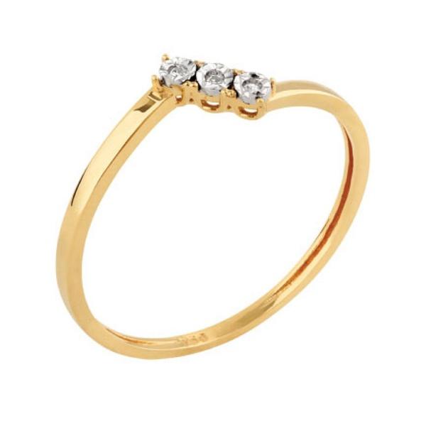 Anel em Ouro Amarelo 18k com 3 Diamantes