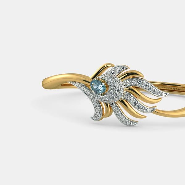 Bracelete Rabo de Pavão Ouro 18k com Diamantes e Aguá Marinha