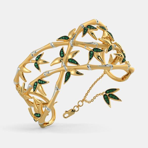 Bracelete Folhas de Inverno Ouro 18k com Esmeraldas