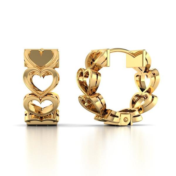 Brinco Ouro 18k Corações