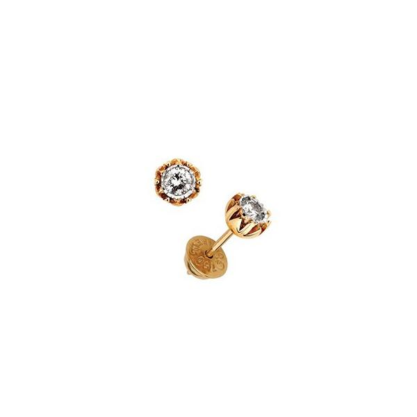 Brinco em Ouro Amarelo 18k Fino Copinho com Diamantes