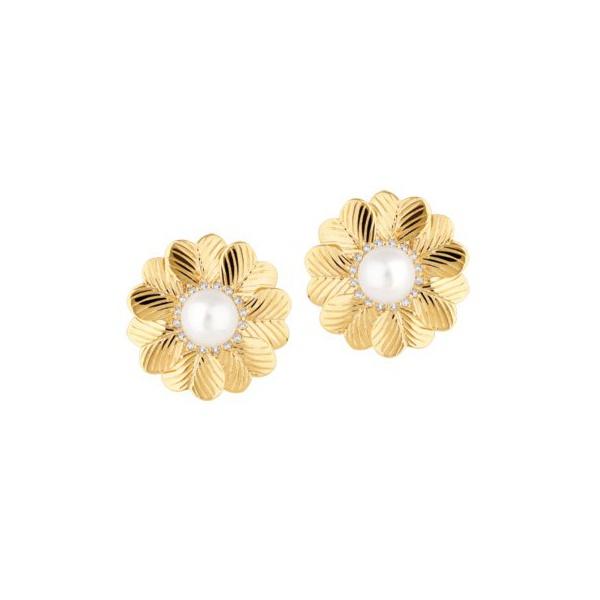 Brinco em Ouro 18k Amarelo Corações com Pérola e Diamantes