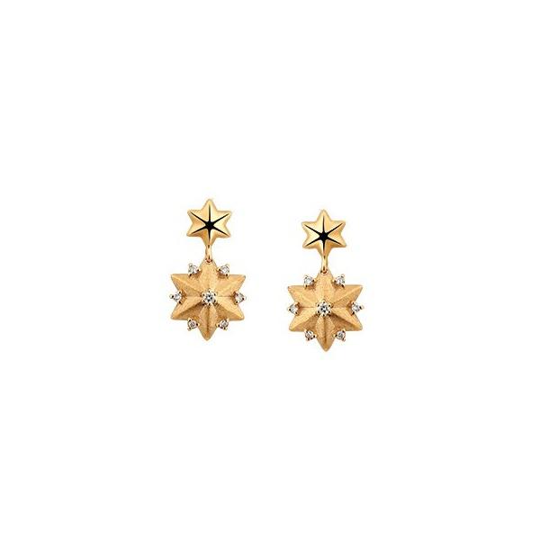 Brinco em Ouro Amarelo 18k Estrela com Diamantes