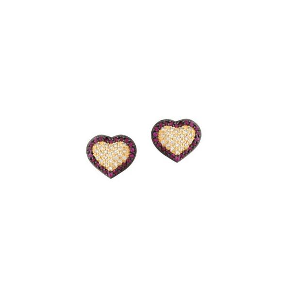 Brinco em Ouro Amarelo 18k 750 Coração com Diamantes e Rubi