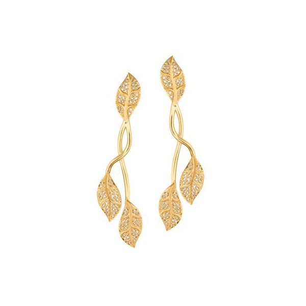 Brinco em Ouro Amarelo 18k 750 Folhas com Diamantes
