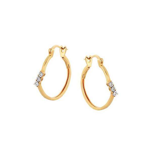 Brinco de Argola em Ouro Amarelo 18k 750 com Diamantes