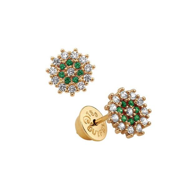 Brinco de Florzinha com Esmeraldas e Diamantes