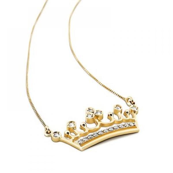 Gargantilha Coroa em Ouro 18k 750